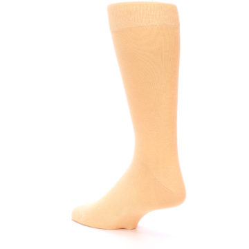 Image of Peach Solid Color Men's Dress Socks (side-2-back-15)