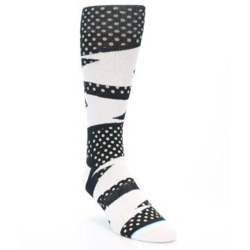 Image of Black White Polka Dot & Stripe Men's Casual Socks (side-1-front-02)