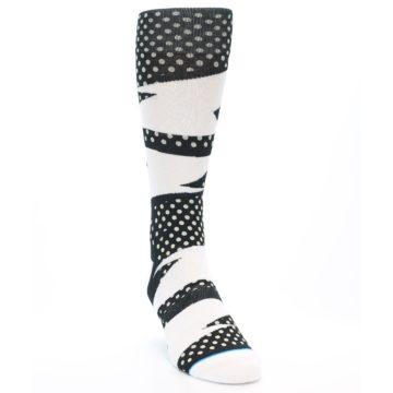 Image of Black White Polka Dot & Stripe Men's Casual Socks (side-1-front-03)