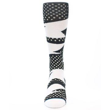 Image of Black White Polka Dot & Stripe Men's Casual Socks (front-05)