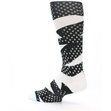 Image of Black White Polka Dot & Stripe Men's Casual Socks (side-2-back-14)