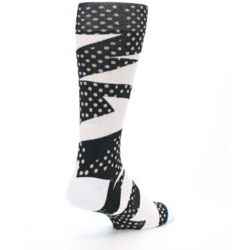 Image of Black White Polka Dot & Stripe Men's Casual Socks (side-1-back-22)