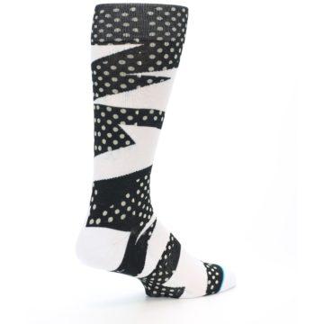 Image of Black White Polka Dot & Stripe Men's Casual Socks (side-1-23)