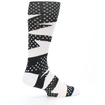 Image of Black White Polka Dot & Stripe Men's Casual Socks (side-1-24)