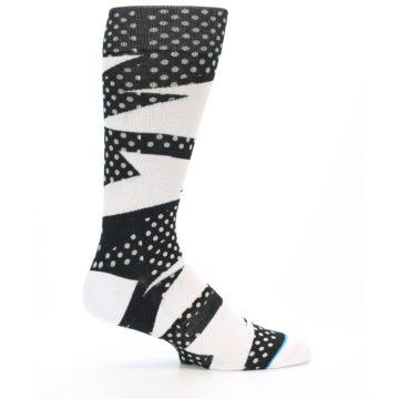 Image of Black White Polka Dot & Stripe Men's Casual Socks (side-1-25)