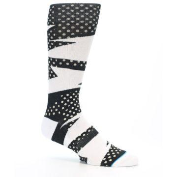 Image of Black White Polka Dot & Stripe Men's Casual Socks (side-1-26)