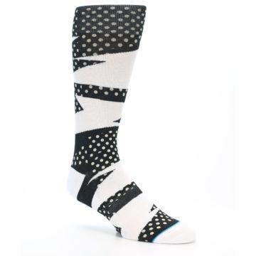 Image of Black White Polka Dot & Stripe Men's Casual Socks (side-1-27)