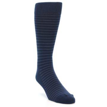 Image of Navy Blue Stripe Men's Dress Socks (side-1-front-02)