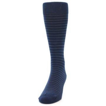 Image of Navy Blue Stripe Men's Dress Socks (side-2-front-06)