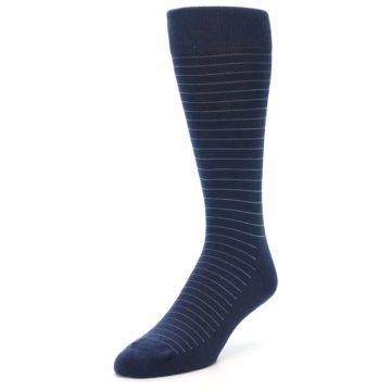 Image of Navy Blue Stripe Men's Dress Socks (side-2-front-08)