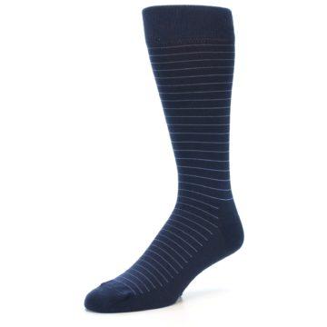 Image of Navy Blue Stripe Men's Dress Socks (side-2-09)