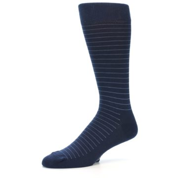 Image of Navy Blue Stripe Men's Dress Socks (side-2-10)