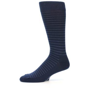 Image of Navy Blue Stripe Men's Dress Socks (side-2-11)