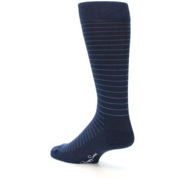 Image of Navy Blue Stripe Men's Dress Socks (side-2-back-14)