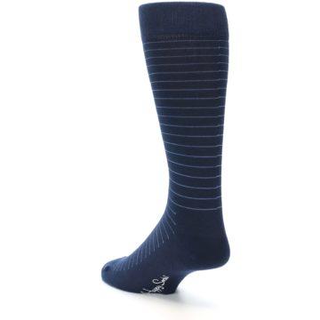 Image of Navy Blue Stripe Men's Dress Socks (side-2-back-15)