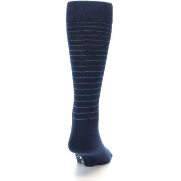 Image of Navy Blue Stripe Men's Dress Socks (back-19)