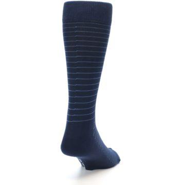 Image of Navy Blue Stripe Men's Dress Socks (side-1-back-20)