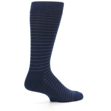 Image of Navy Blue Stripe Men's Dress Socks (side-1-23)