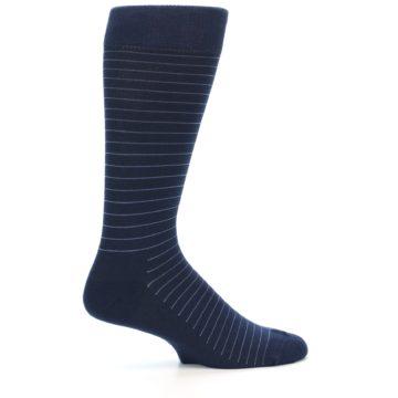 Image of Navy Blue Stripe Men's Dress Socks (side-1-24)