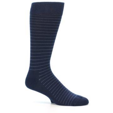Image of Navy Blue Stripe Men's Dress Socks (side-1-25)