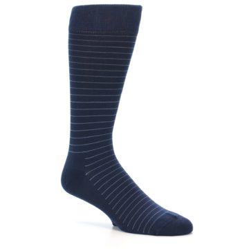 Image of Navy Blue Stripe Men's Dress Socks (side-1-26)