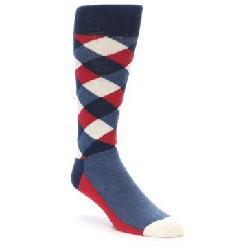 Image of Red White Blue Diamonds Men's Dress Socks (side-1-front-01)