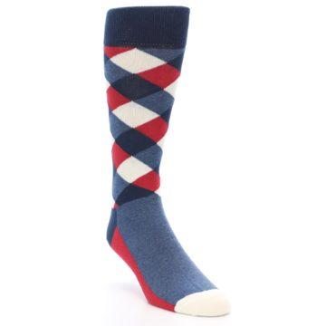 Image of Red White Blue Diamonds Men's Dress Socks (side-1-front-02)