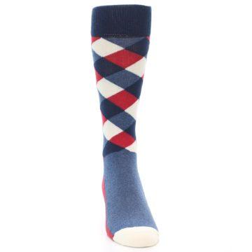 Image of Red White Blue Diamonds Men's Dress Socks (front-04)