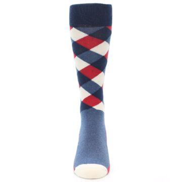 Image of Red White Blue Diamonds Men's Dress Socks (front-05)