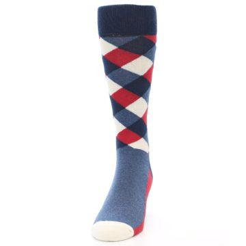 Image of Red White Blue Diamonds Men's Dress Socks (side-2-front-06)