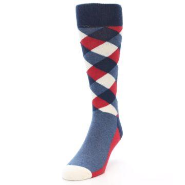 Image of Red White Blue Diamonds Men's Dress Socks (side-2-front-07)