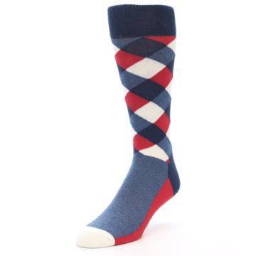 Image of Red White Blue Diamonds Men's Dress Socks (side-2-front-08)