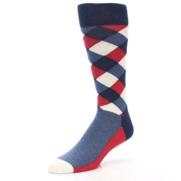 Image of Red White Blue Diamonds Men's Dress Socks (side-2-09)