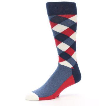 Image of Red White Blue Diamonds Men's Dress Socks (side-2-10)