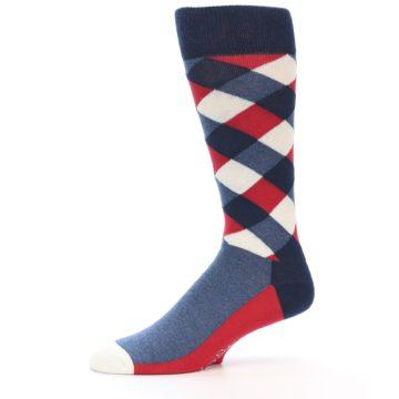 Image of Red White Blue Diamonds Men's Dress Socks (side-2-11)