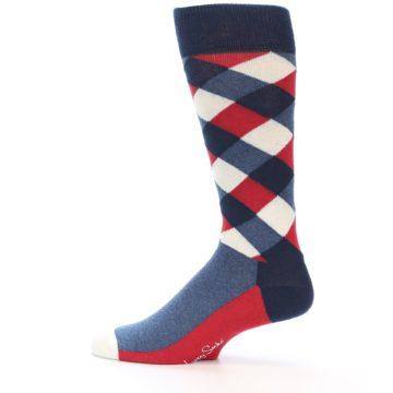 Image of Red White Blue Diamonds Men's Dress Socks (side-2-12)