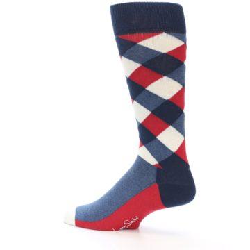 Image of Red White Blue Diamonds Men's Dress Socks (side-2-13)