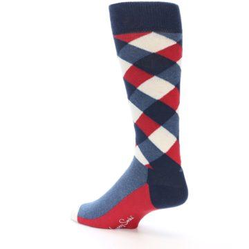 Image of Red White Blue Diamonds Men's Dress Socks (side-2-back-14)