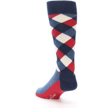 Image of Red White Blue Diamonds Men's Dress Socks (side-2-back-15)