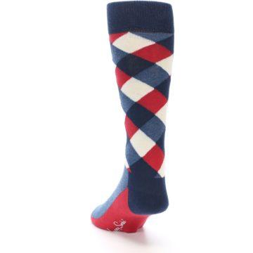 Image of Red White Blue Diamonds Men's Dress Socks (side-2-back-16)