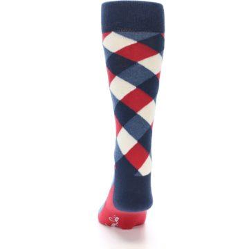 Image of Red White Blue Diamonds Men's Dress Socks (back-17)