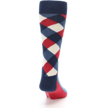 Image of Red White Blue Diamonds Men's Dress Socks (back-19)