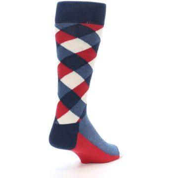 Image of Red White Blue Diamonds Men's Dress Socks (side-1-back-21)