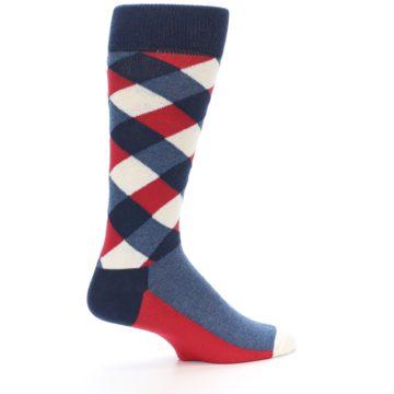 Image of Red White Blue Diamonds Men's Dress Socks (side-1-23)