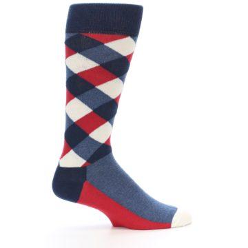 Image of Red White Blue Diamonds Men's Dress Socks (side-1-24)