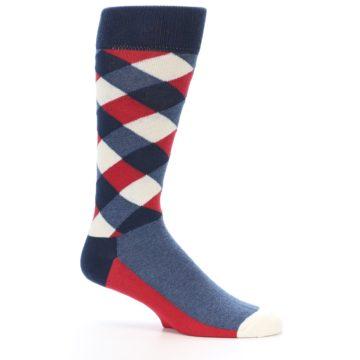 Image of Red White Blue Diamonds Men's Dress Socks (side-1-25)