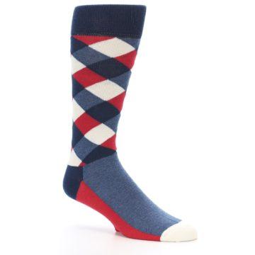 Image of Red White Blue Diamonds Men's Dress Socks (side-1-26)