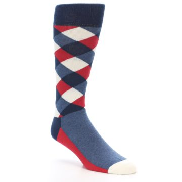 Image of Red White Blue Diamonds Men's Dress Socks (side-1-27)