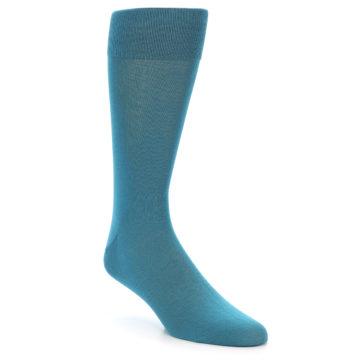 Image of Teal Solid Color Men's Dress Sock (side-1-front-01)