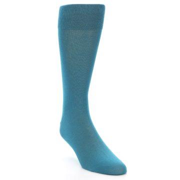 Image of Teal Solid Color Men's Dress Sock (side-1-front-02)